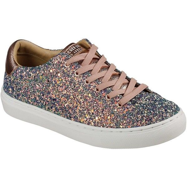 Skechers Women's Side Street - Awesome Sauce Gold - Skechers (1,110 MXN) ❤ liked on Polyvore featuring shoes, sneakers, gold, gold sneakers, gold glitter shoes, lace up sneakers, skechers trainers and gold trainers