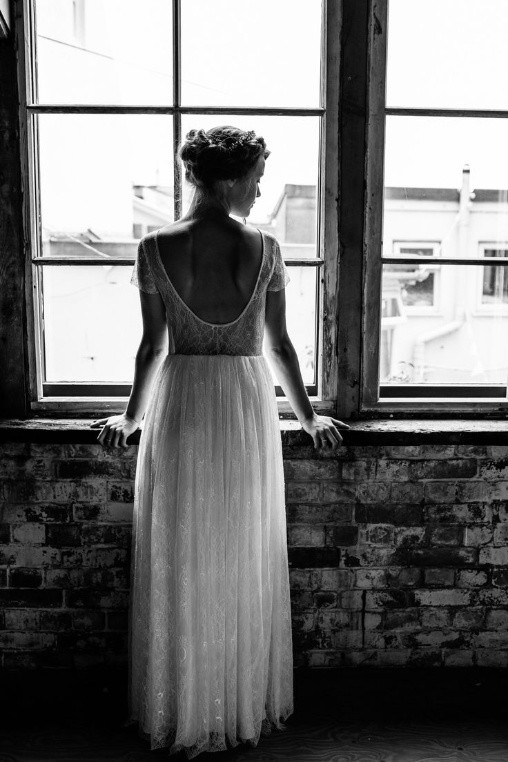 Juliette Dress - Short sleeved wedding dress with sheer, low back with beaded edging