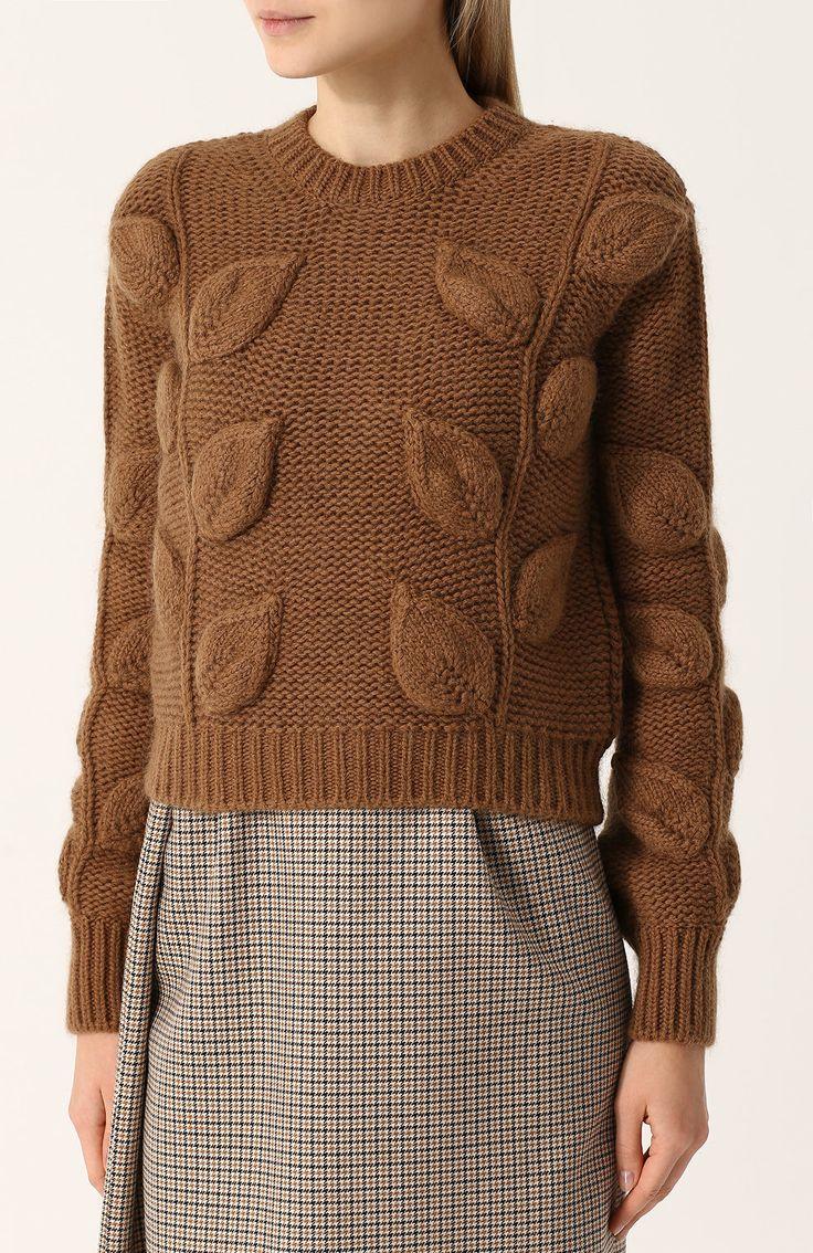 Женский коричневый пуловер фактурной вязки с круглым вырезом No. 21, арт. N2S/A022/7359 купить в ЦУМ | Фото №3