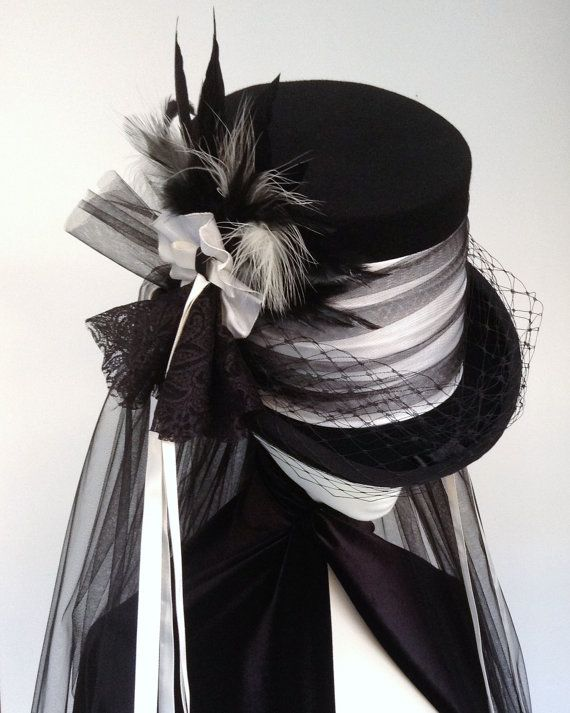 Lady Mathius Neo Victorian Gothic wedding hat by Blackpin on Etsy