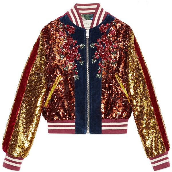 Gucci Embroidered Sequin And Velvet Bomber ($8,500) ❤ liked on Polyvore featuring outerwear, jackets, blue, blue velvet jacket, flower bomber jacket, cat jacket, gucci jacket and embroidered bomber jackets