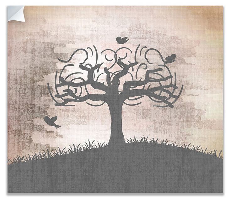 Birds in Whimsical Tree Canvas Wall Peel