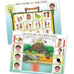 Ces affiches aident l'enfant à prendre conscience de ses émotions et des solutions qui s'offrent à lui pour éviter « l'explosion du volcan ».