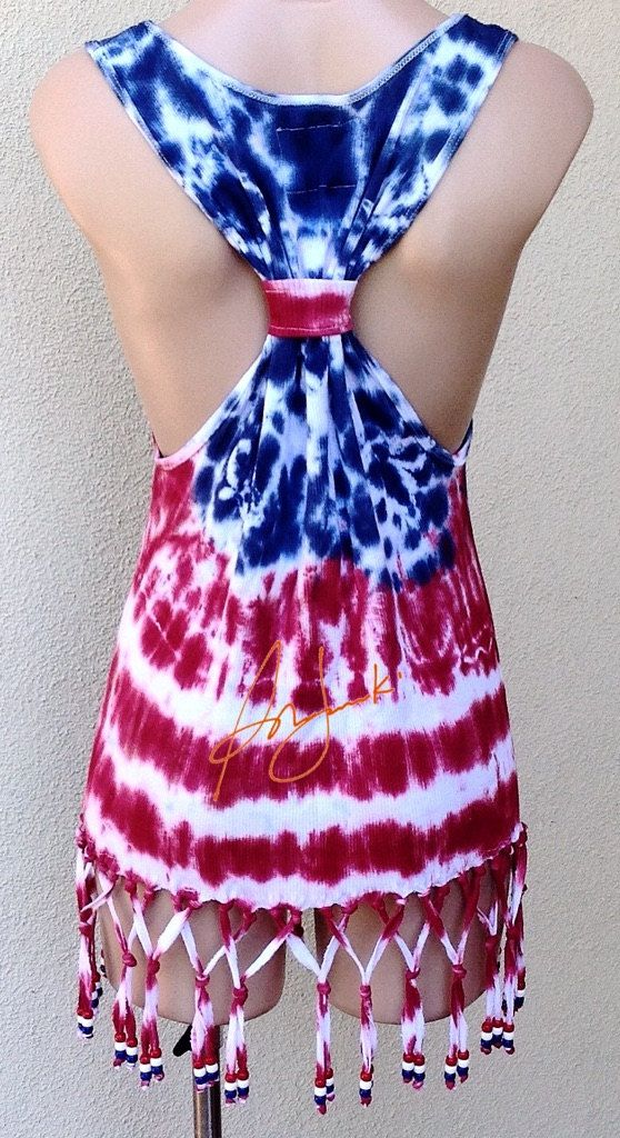 4th Of July Tank Top Independence Day Tie Dye Stars by Sunjunki
