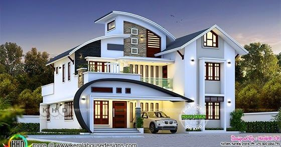 Unique C Curve Roof House Rendering In 2020 New Model House Kerala House Design Bungalow House Design