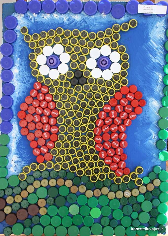 Owl bottle cap mural