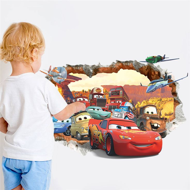 pixar s cars break through brick wall sticker decal for on wall stickers for kids id=51991