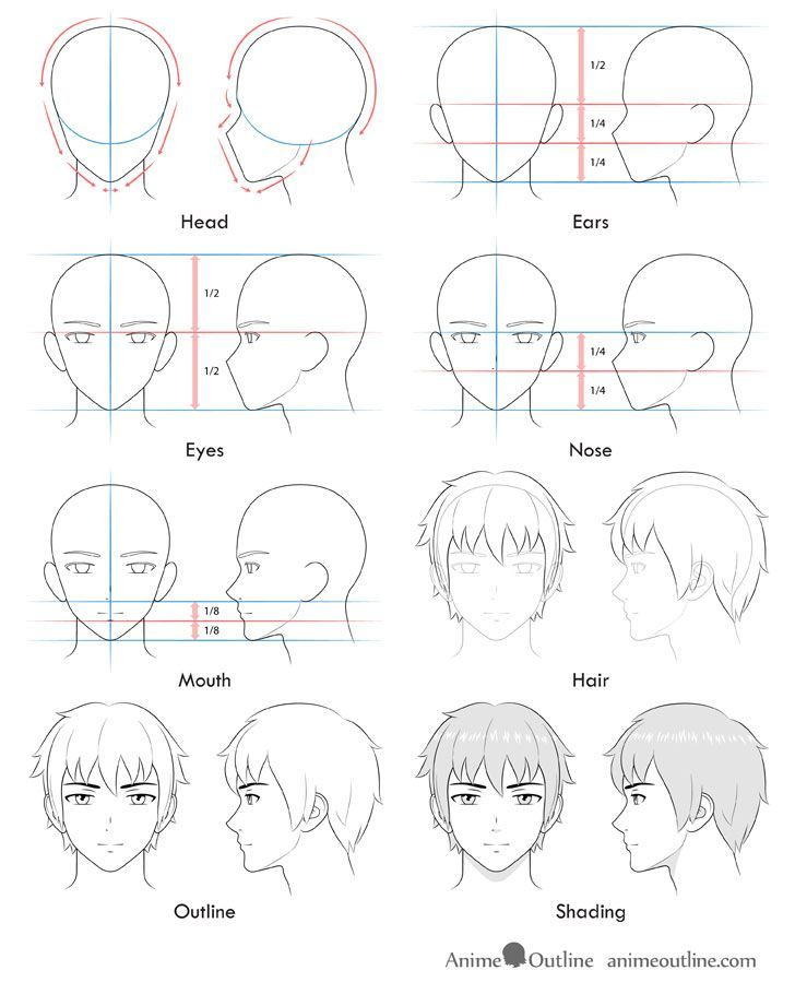 Tecnica De Desenho Anime In 2020 Anime Face Drawing Anime Male Face Manga Drawing Tutorials