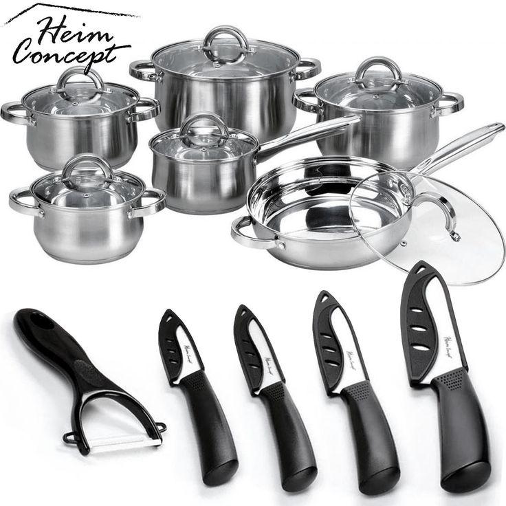 Heim Concept 12 Piece Cookware Set Stainless Steel Pots Pans  Ceramic Knife Set