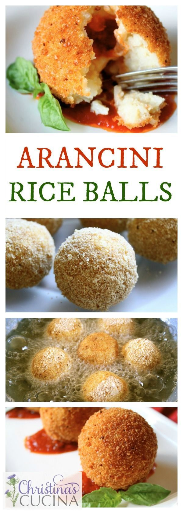 Crunchy deep fried balls of Italian rice are filled with a surprise of tomato sauce and gooey mozzarella cheese!