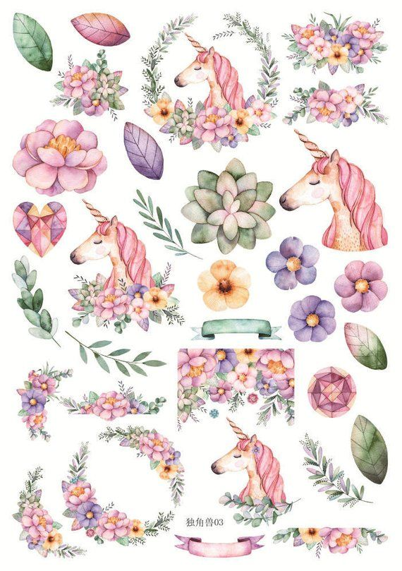 Card Making Scrapbooking 3D Unicorn Stickers 2 Sheets 2 Designs