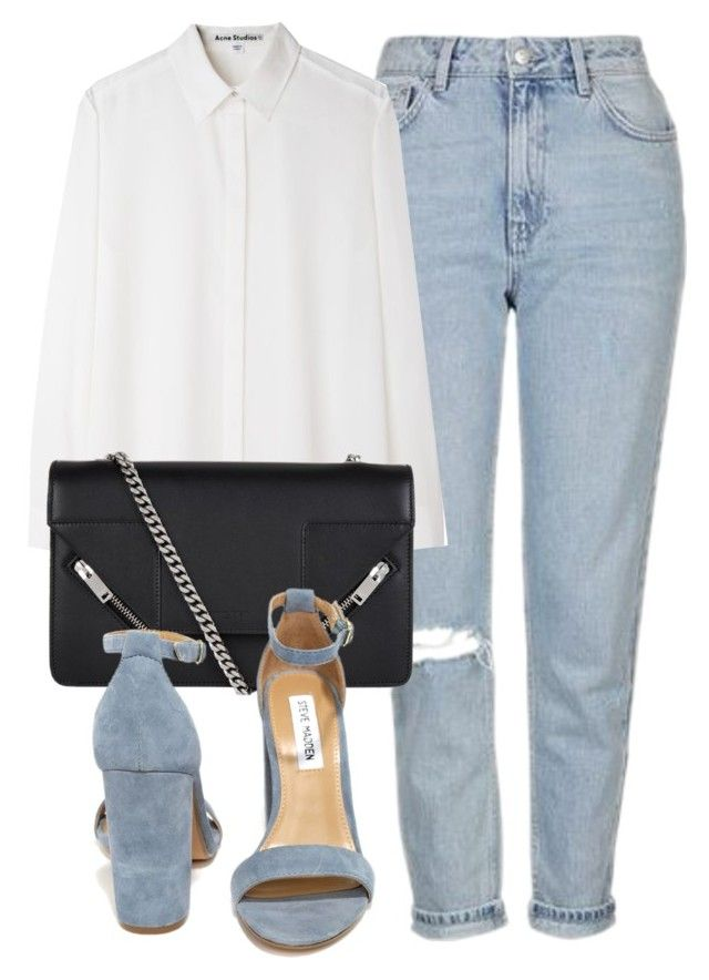 """""""Untitled #6464"""" by laurenmboot ❤ liked on Polyvore featuring Topshop, Acne Studios, Yves Saint Laurent and Steve Madden"""