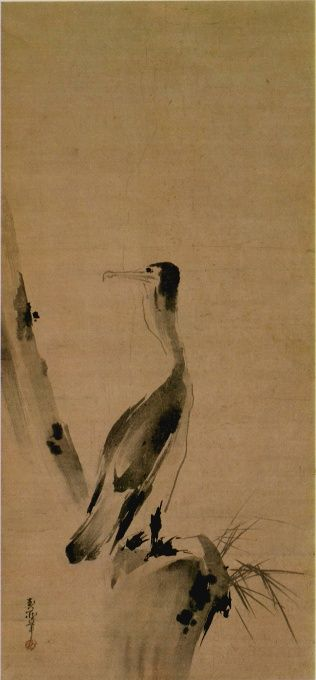 """""""Cormorant"""" by MIYAMOTO Musashi (1584-1645), Important Cultural Property of Japan 宮本武蔵「鵜図」 紙本墨画 重要文化財: Musashi was a most famous Japanese swordsman but he's also talented as an artist."""