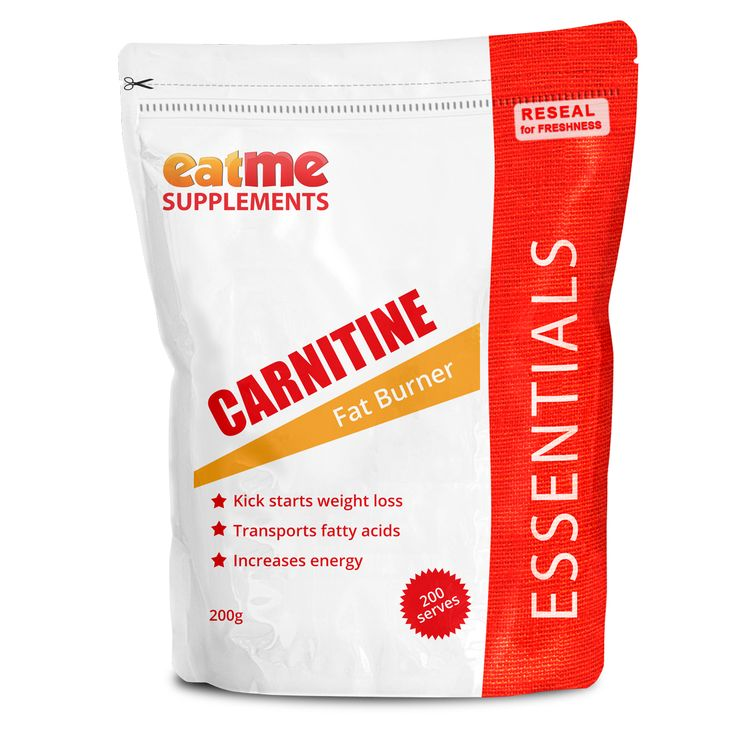 Eat Me L-Carnitine Fat Burner 200g from Superior Supplements Get in shape for summer now! Increasing your Carnitine intake is a natural way to manage weight because Carnitine picks up fat and puts it exactly in the part of the cells where it is burnt as energy.  Carnitine is an amino acid synthesized in the body from the essential amino acids lysine and methionine. Carnitine is essential for the production of energy from fat and also prevents fatty build-up around vital organs..