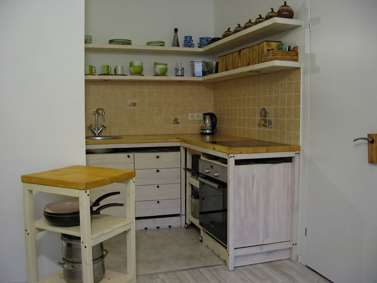 Kitchen made of natural wood pine, handmade.