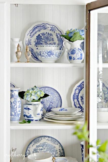 Craftberry Bush - blue and white porcelain hutch