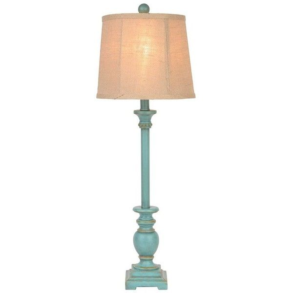 Rustic Turquoise Classic Buffet Lamp ($20) ❤ liked on Polyvore featuring home, lighting, table lamps, lamps, turquoise table lamp, turquoise lamp, rustic light, round shades y rustic lighting