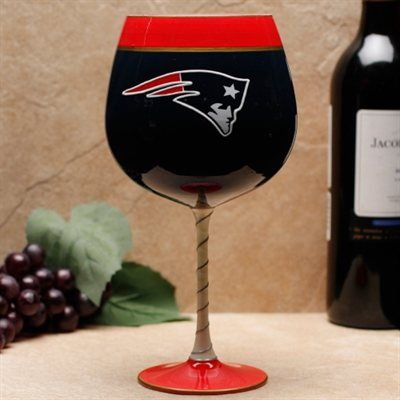 New England Patriots Hand-Painted Team Wine Glass