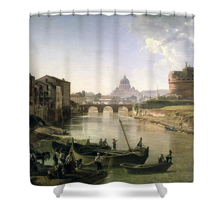 River Tiber Shower Curtain featuring the painting New Rome With The Castel Sant Angelo by Silvestr Fedosievich Shchedrin