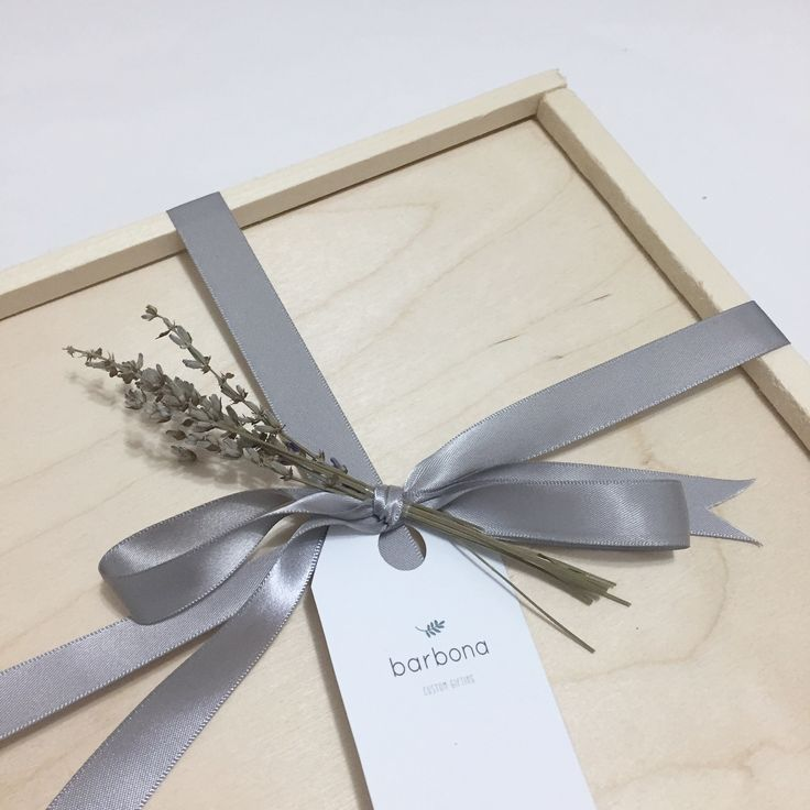 Gift wrapping inspiration | wood gift box with satin ribbon and lavender | baby gift box | Barbona Gifts