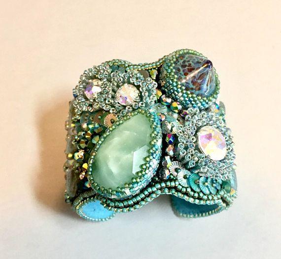 Amazonite Beaded Bracelet  Bead Embroidered Bracelet  Green