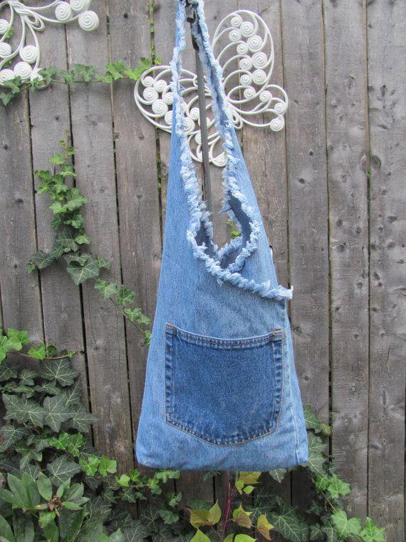 Recycled denim bag / hobo / purse / blue jeans / pocket / unlined