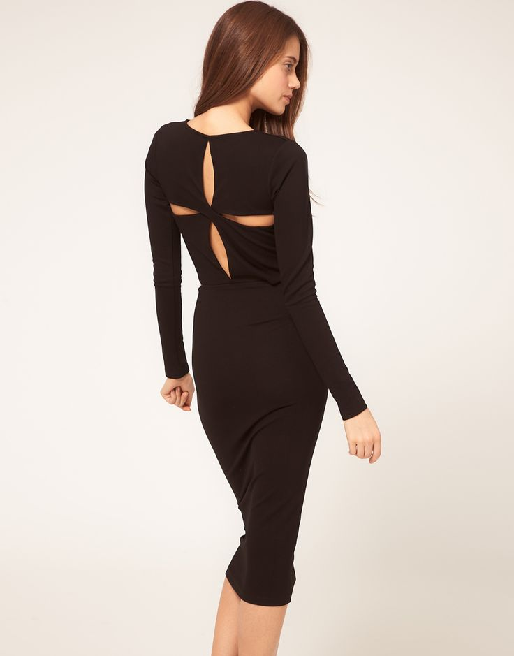 Midi Dress with Cut Out Side and Back