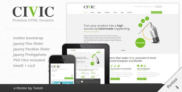 Civic Responsive Business Template - ThemeForest Item for Sale