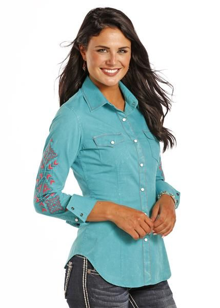 Rock & Roll Cowgirl Women's Long Sleeve Crinkle Wash Poplin Western Sh | Cowboy Boots and Western Clothing | Painted Cowgirl Western Store