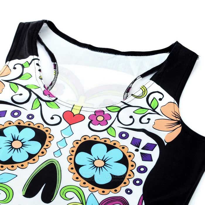 Women's Sexy Cool Skull Pattern Elastic Slim Nylon + Spandex Vest Top - Black + Multi-Color