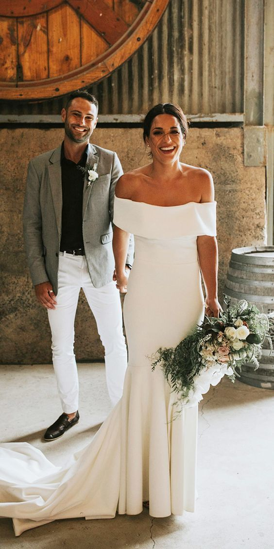 Sheath Satin Wedding Dress, Off Shoulder Satin Wedding Dresses, Long Bridal