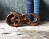Barn Pulley Industrial Bookend | Antique Cast Iron Pulley | Modern Rustic | Farmhouse | Industrial Decor | Man Cave