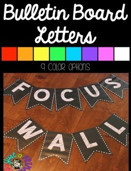~*Bulletin Board Letters: Bunting in ChalkThese are in black background. You can print each letter separate. If you want to print smaller, you can scale down in your print settings. My Word Wall was at 70%***************Please note that you DO need adobe to print these.