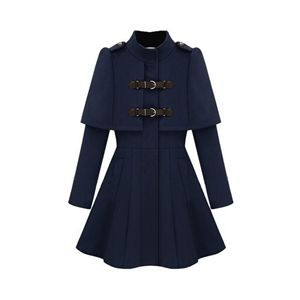 Caped Navy Blue Coat | Victoriaswing  what an incredible look for fall and winter 2016-17. Chic Great price and you get to look at the Cape and the warmth of a coat! Great style..a Great Buy!