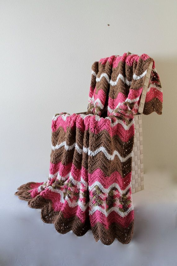 Afghan  Ripple Crochet Blanket  Pink Camo and by SnuggableStitches