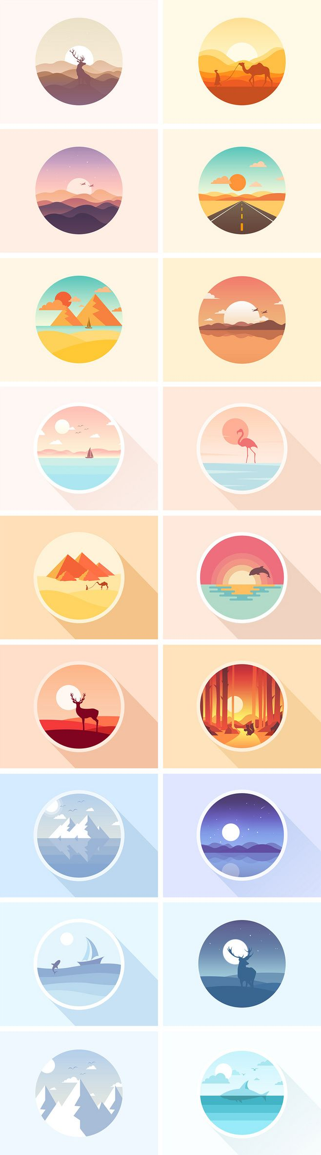 Vector art; nature themed digital illustrations // icon练习作品 @南诺Nanuo 邮箱...
