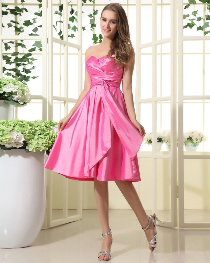 Sweetheart Tea Length Taffeta Bridesmaid Dress With Ribbon