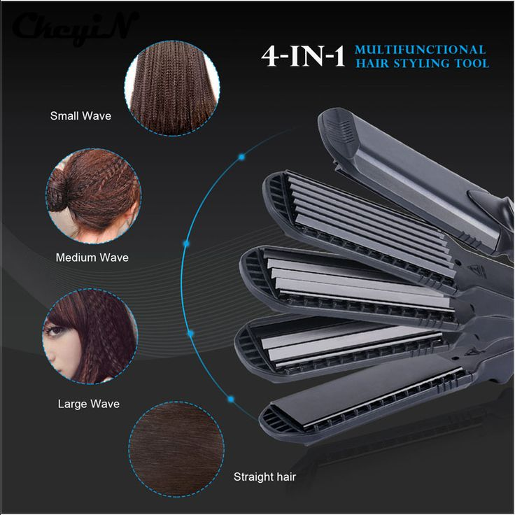 4-in-1 Interchangeable Plates Fast Hair Straightener Flat Iron Hairdressing Styling Wave Perm Rod Corn Hair Clip Curler Maker