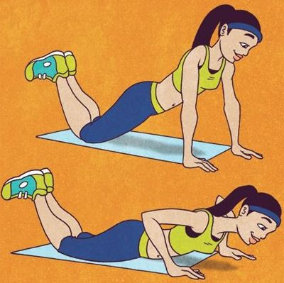 8 Types Of Push ups For Women And Their Benefits: When you are starting off, you can do a half push up, also known as the girl pushups.