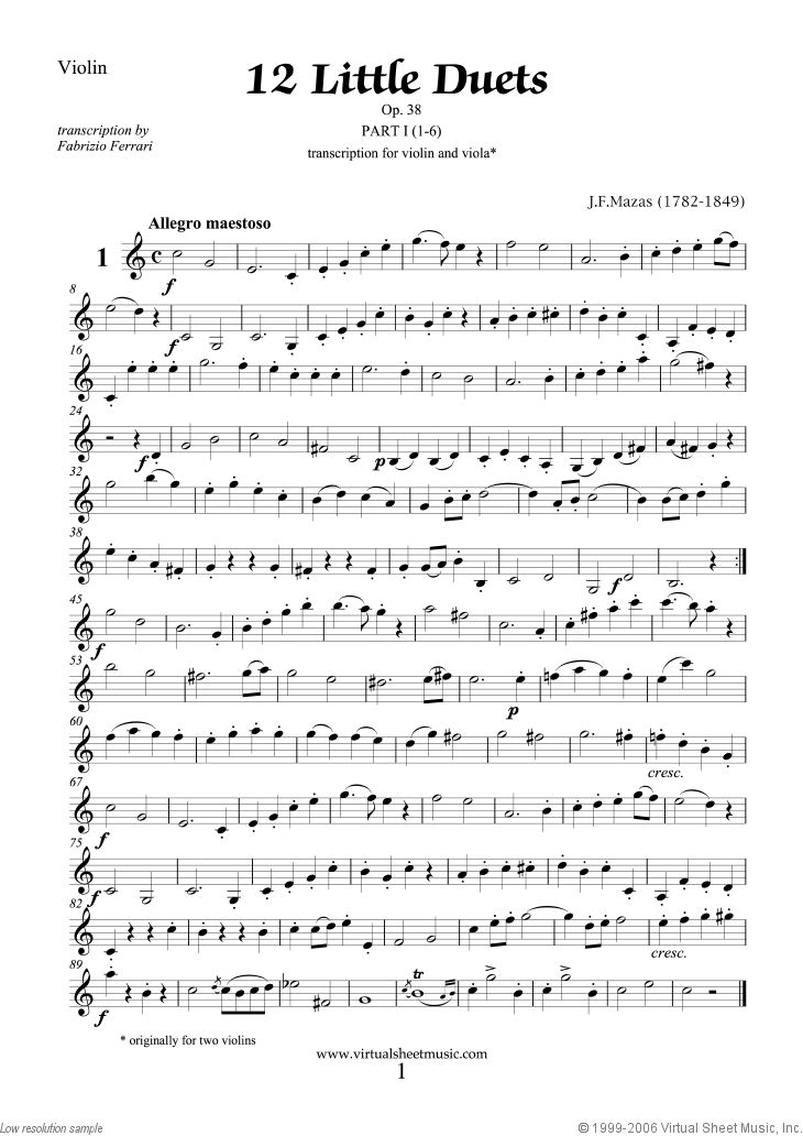 Mazas - Little Duets Op.38, 12 - COMPLETE sheet music for violin and viola