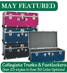 College Trunks & Dorm Footlockers  Trunks are a great way to create extra storage space in your cramped dorm room.  Like us on facebook! http://www.facebook.com/chanceofshowersonline?ref=tn_tnmn