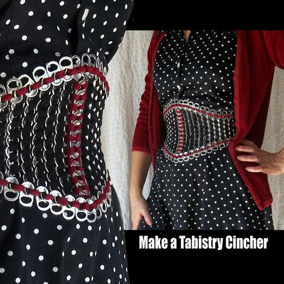 Tabistry Simple Waist Cincher PDF Tutorial - Pattern and Instructions for aluminum soda pop can tab waist cincher