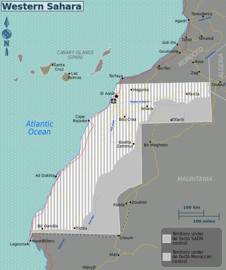 "Western Sahara map including Sahrawi Arab Democratic Republic with ""temporary"" capital of Tifariti"