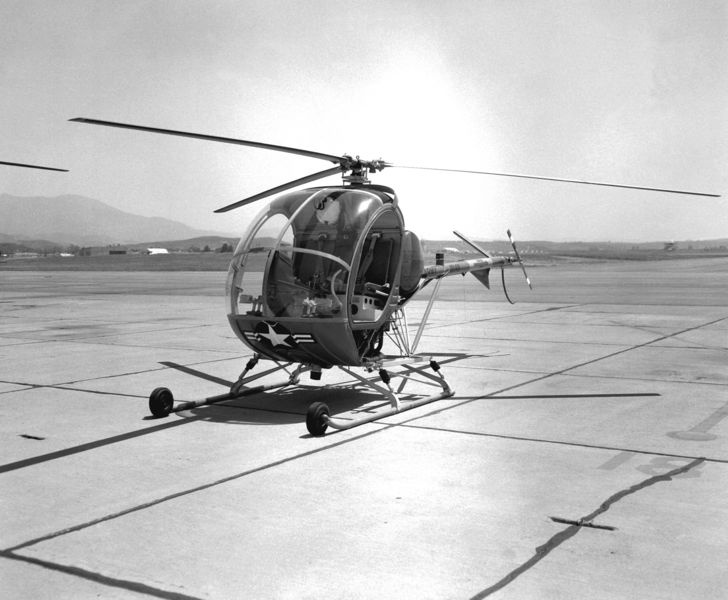 This is the first airplane I ever flew solo in.  It is the Hughes TH-55.  I flew it in US Army Helicopter Flight School at Fort Wolters Texas in 1968