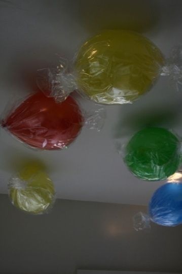 Balloons wrapped as candy discs. This would be super cute with some of the candyland party ideas I've seen!