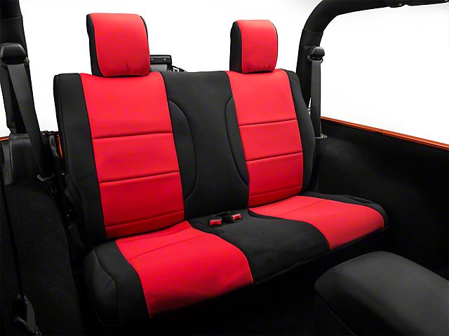 Rugged Ridge Rear Seat Cover Black Red 07 17 Wrangler Jk 2 Door Seat Covers Seating Seat Cover