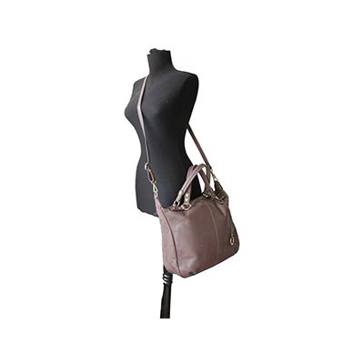 Sandy Italian Taupe Leather Satchel Handbag - £64.99