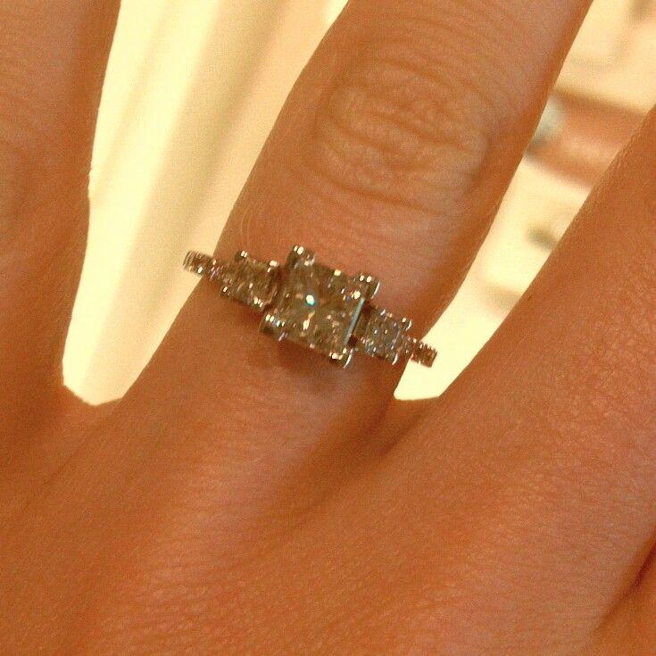 three princess cut thin band engagement ring
