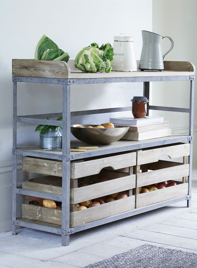 Loaf's Rackety sideboard with apple crate storage drawers filled with fresh fruit and veg
