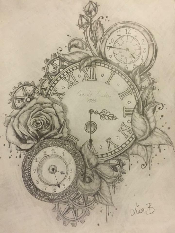 Clock tattoo commission by artist: Lisa Brett @woolybutt.designs